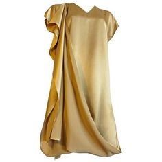 Preowned 1990's Shamask Couture / Moss Gold Silk Dress (9.809.255 IDR) ❤ liked on Polyvore featuring dresses, vestido, cocktail dresses, green, brown cocktail dress, button down dress, green cocktail dress, long silk dress and long button down dress