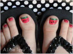 Watermelon Toenails pedicure. Must try this with the girls before summer is over.