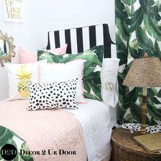 Palm tree bedding sets for dorm rooms. Black and white palm tree bedroom. Palm Tree Bedding, Tree Bedroom, Bedroom Wall, Girls Bedroom, Bedroom Decor, White Bedroom, Bedding Decor, Wall Decor, Floral Bedding