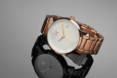 Rose gold and pearl face MVMT watch