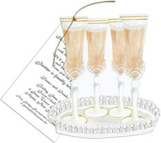 Tray of Champagne Die-Cut Invitations