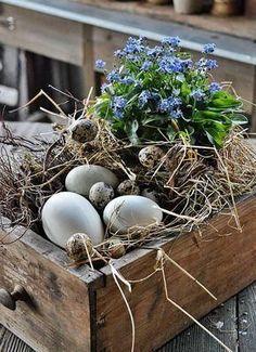 DIY - Ostern Easter decoration, natural Easter decoration, decoration for Easter, Easter eggs imchun Easter Table, Easter Eggs, Deco Floral, Spring Crafts, Easter Crafts, Easter Decor, Easter Centerpiece, Happy Easter, Floral Arrangements