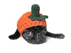 dog costume halloween PET COSTUME PUMPKIN hat for cat dog x-small small medium puppy hood hoodie adjustable crochet. via Etsy.