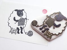 mama sheep hand carved rubber stamp. knitting yarn by talktothesun