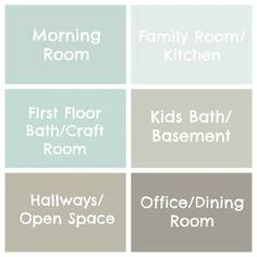 Whole House Soft Color/Neutral Paint Palette ~ Top Row (left to rt. Middle Row (left to rt): Sherwin Williams Tidewater & Repose Gray. Last Row (left to rt): Benjamin Moore Thunder & Escarpment Interior Paint Colors, Paint Colors For Home, Paint Colours, Interior Design, Wall Colors, House Colors, Eames Design, Rainwashed Sherwin Williams, Decoration Palette