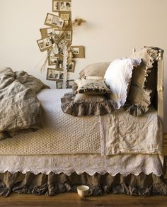 Cheat on the rice bed's extra long drop?  Velcro the bottom skirt to the rail or box spring, then use a regular length skirt (Mamma's if you can find it) on top.  Also consider cutting an old tablecloth or the black and cream toile quilt for the bottom piece!  I think this will work!!!