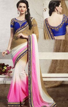 Butta Beige, Off White and Pale Pink Color Saree