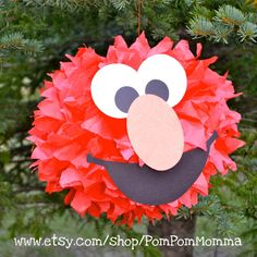 Elmo Inspired Party Pom by PomPomMomma on Etsy, Monster Birthday Parties, Elmo Party, Carnival Birthday Parties, Elmo Birthday, 1st Birthday Girls, Birthday Ideas, Sesame Street Party, Sesame Street Birthday, Elmo And Friends