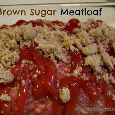 Brown Sugar Meatloaf Recipe - ZipList (good ground beef recipes brown sugar) How To Cook Meatloaf, Meatloaf Recipes, Meat Recipes, Crockpot Recipes, Cooking Recipes, Basil Recipes, Dinner Recipes, Healthy Recipes