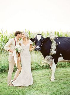 We love incorporating animals into a wedding. This rustic farm wedding didn't hold back. What do you think?