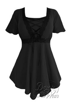 Plus Size Black Angel Corset Top in Black and Black Lace