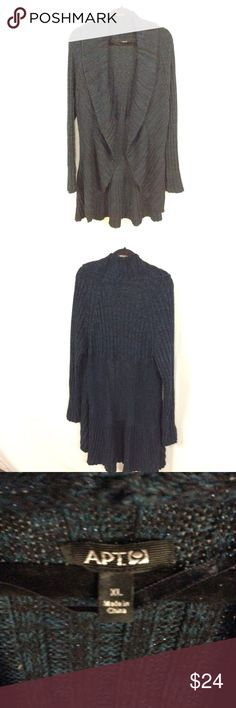 APT 9 Teal Sparkly Open Knit Cardigan Sweater XL In excellent preowned condition. spot mentioned in last pic on one arm. Apt. 9 Sweaters Cardigans