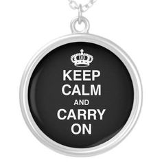 "#keepcalmandcarryon #necklace #zazzle #kreatr   Keep your favorite image, design, or words of inspiration close your heart with this beautiful round custom sterling silver plated necklace. Complete with a 18"" sterling silver-plated chain (2"" extender) and lobster claw clasp, this necklace is finished with a UV resistant and waterproof coating to protect your imagery for years to come. The necklace arrives in a special black felt bag that is perfect for gifting."
