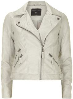 Neutral coloured leather look biker jacket with rib stitch panel at sides.