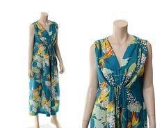 Vintage 60s Hawaiian Caftan Dress 1960s Bird by CkshopperVintage