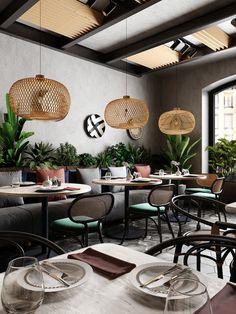 Restaurant Interior Design, Restaurant Interiors, Cafe Design, House Design, Cafe Furniture, Bar Lounge, Cafe Restaurant, Commercial Design, Dining Area