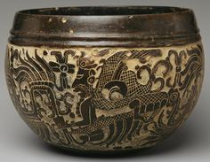 Carved Bowl, 6th century Mexico or Guatemala; Maya Ceramic