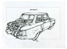 #zaz968 with porsche engine/Author Aleksey Lubimov. #alekseylubimov_art #алексейлюбимовбиомеханика #алексейлюбимов #стимпанк #дизельпанк #биомеханика #marchofrobots #steampunk #dieselpunk #biomechanical #lineart #engine #motor #inktober2018 #technodoodling