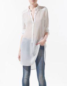 CREASED LONGLINE SHIRT - Shirts - Woman - ZARA