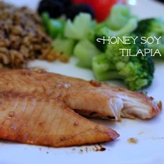 Honey Soy Tilapia The marinade covers about 2-3 medium sized fillets:  3 Tbsp honey 3 Tbsp soy sauce 3 Tbsp balsamic vinegar 1 clove garlic, minced Whisk everything together.  Place filets in a shallow dish and cover with marinade.  Keep in the fridge for at least 20 minutes, turning half-way.  Preheat oven to 350 degrees.  Bake in a shallow dish or baking sheet for 15-20 minutes, until the fish flakes easily.
