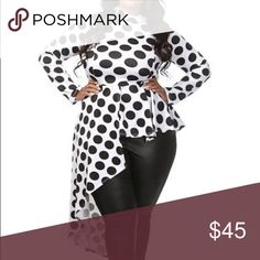 NWT Plus Size Polka Dot Side Cascade Peplum Top BRAND NEW! Never worn. Plus Size Polka Dot Long Sleeve Mock Neck Side Cascade Peplum Top. One of our hottest sellers! 95% Polyester 5% Spandex. Made in USA. Fits true to size. Head2Toez Apparel Tops
