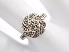 Vintage Sterling Silver Marcasite Swirl Flower Style Ring Sz 7.25 #1989