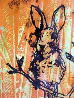 Monoprint, bunnybird