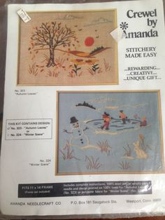 "VINTAGE NIP CREWEL BY AMANDA KIT 323 AUTUMN LEAVES 11"" X 14"" 100% LINEN SUNSET #CREWELBYAMANDA"
