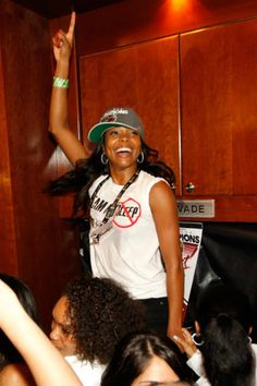 Actress Gabrielle Union celebrates in the Miami Heat locker room after the Heat won 121-106 against the Oklahoma City Thunder in Game Five of the 2012 NBA Finals on June 21, 2012 at American Airlines Arena in Miami, Florida.