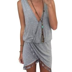 Grey asymmetrical dress Oulifa dress Women's Sleeveless Asymmetrical Hem Sundress Party Dress. Size large, fits like a med small. Too short for my liking. Oulifa Dresses Asymmetrical