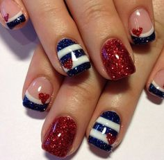 Have a look at the collection of 15 Fourth of July acrylic nail art designs, ideas, trends & stickers of of July nails. Heart Nail Designs, Red Nail Designs, July 4th Nails Designs, Heart Nail Art, Heart Nails, Nails Polish, Toe Nails, Nail Nail, Stiletto Nails