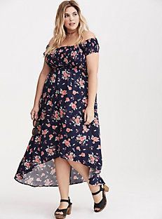 Floral Print Off the Shoulder Smocked Hi-Lo Maxi Dress