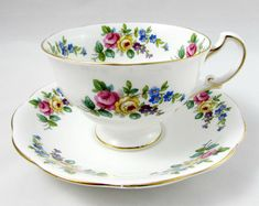 Royal Standard Tea Cup and Saucer with Flowers, Vintage Bone China