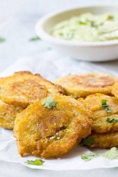 Paleo tostones {twice fried plantains) cooked in coconut oil and served with a compliant avocado ranch dip. Crispy, savory and delicious! Veggie Recipes, Mexican Food Recipes, Vegetarian Recipes, Cooking Recipes, Ethnic Recipes, Spanish Recipes, Primal Recipes, Meal Recipes, Dinner Recipes