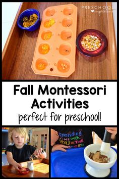 We love Montessori activities in our preschool classroom! These fall practical life activities are amazing for teaching life skills through hands-on exploration and play. Toddler Learning Activities, Preschool Learning Activities, Preschool At Home, Montessori Toddler, Preschool Classroom, Preschool Ideas, Teaching Life Skills, Teaching Ideas, Montessori Practical Life