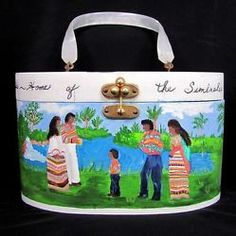 Vintage SEMINOLE INDIAN PURSE Hand Painting Florida Wood Bag Lucite Handle