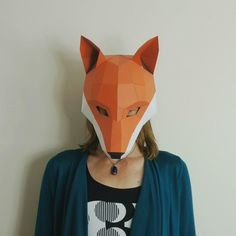 Celebrate the magic, mystery and mischief of the Fox in this fresh new wall-mountable design of our first and most well-known Mask.  #Wintercroft #FoxMask #BanFoxHunting #LowPoly