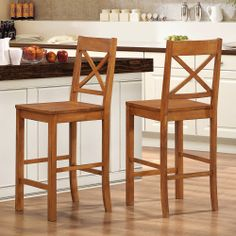Antique Brown Solid Wood Barstools (Set of 2) | Overstock.com Shopping - The Best Deals on Bar Stools $230