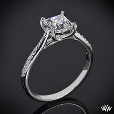 Vatche designs From the Spanish word meaning 'Happiness' the 'Alegria Pave' Diamond Engagement Ring by Vatche is the perfect home for your Princess Cut Diamond. Part of our Serenity Collection, this striking beauty sparkles with 20 Round Brilliant Diamond Meelee (0.10ctw; G/ VS) along the shank and has a 4 prong heart shaped basket head.