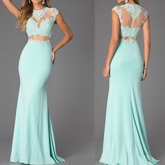 Custom Made Two-Piece Mint Lace High Neck Bare-Midriff Floor Length Prom Dress Handmade , Cheap Prom Dresses 2016 Prom Dress Sexy Formal Dresses, Prom Dresses 2016, Backless Prom Dresses, Prom Dresses Blue, Cheap Prom Dresses, Prom Party Dresses, Formal Evening Dresses, Dress Prom, Graduation Dresses