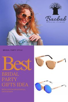 Make your wedding unforgettable. Unique sunglasses packages for bride, groom, bridesmaids and groomsmen. Add custom text on each pair. Wooden Sunglasses, Mirrored Sunglasses, Bridesmaids And Groomsmen, Groomsman Gifts, Party Fashion, Bride Groom, Eyewear, Bridal, Wedding
