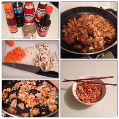 Pork, carrot & mushroom with noodles and an amazing, special sauce.