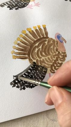 How to paint a turkey in watercolor | Kids Thanksgiving activity