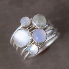 Luminous+Gemstone+Stacking+Rings+Sterling+Silver+por+KiraFerrer,+$106,00