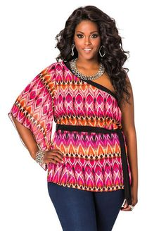 1bcdc74413e8a Ikat Print One Shoulder Tunic Trendy Plus Size Clothing