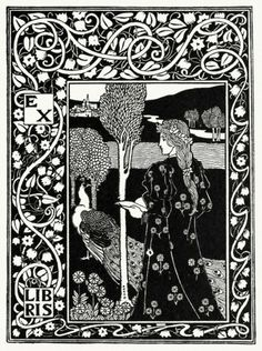 oldbookillustrations:  Project for an ex-libris.  From A collection of book plate designs, by Louis Rhead, Boston, 1907.  (Source: archive.org)
