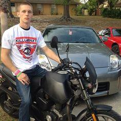 #Adam #bookhammer on the #buell wearing my #killuminati #tshirt #realdope #real #dope #bike #illuminati #white #red #black #motorcycle