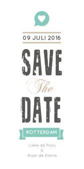 Save the Date met schuine strepen
