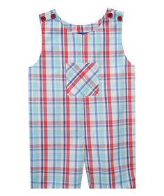 Look what I found on #zulily! Blue Plaid Shortalls - Infant & Toddler #zulilyfinds