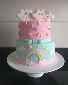 Baby Birthday Cakes, Baby Cakes, Girl Cakes, Bolo Fondant, Fondant Cakes, Cupcakes, Cupcake Cakes, Baby Shower Cakes, Cloud Cake